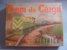 Brinquedos antigos -  - Caixa do Conjunto de Trem à Pilha Trem de Carga da Metalma Brasil Fabricado na década de 1960