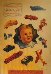 Brinquedos antigos -  - Capa do Catálogo 1950 da fábrica de brinquedos italiana Ferrari Giro de Milão, trabalho assinado pelo artista plástico Baggin