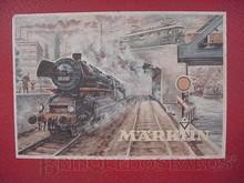 Brinquedos antigos -  - Rótulo da Caixa do Conjunto de Trem Elétrico fabricado pela Marklin Alemanha em 1953