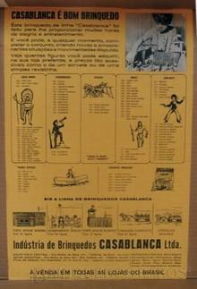 Brinquedos antigos -  - Cartaz-Catálogo da Fábrica Casablanca, Brasil, década de 1960. Esse Cartaz vinha colado no interior da tampa das caixas dos brinquedos da Fábrica