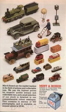 Brinquedos antigos -  - Propaganda da Loja Mint and Boxed de Londres. Década de 1980