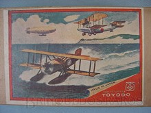 Brinquedos antigos -  - Rótulo da Caixa da Torre com três aviões biplanos fabricada pela Toyodo Japão no final da década de 1920
