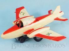 Brinquedos antigos -  - Avião Esquadrilha da Fumaça com 19,00 cm de envergadura Fabricado pela Estrela Brasil em plástico rígido Solta faíscas com pedra de isqueiro conforme movimenta o Motor a fricção Ano 1971