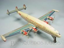 Brinquedos antigos -  - Avião Super Constellation Trans Word Airlines fabricado pela Alps Japão em lata com 45,00 cm de envergadura Motor à corda anda e movimenta as hélices Década de 1960