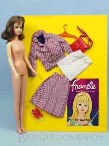 Brinquedo antigo Boneca Francie e o Conjunto completo Chek Mates com 5 itens ainda na Cartela Original Anos de 1966