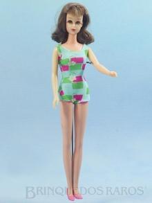 Brinquedo antigo Boneca Francie Morena com com 28,00 cm de altura Fabricada pela Mattel EUA em plástico assoprado e vinil Era vendida com essa apresentação; vestindo um traje de praia Ano 1966