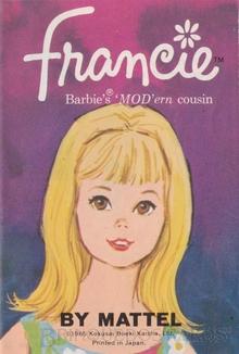 Brinquedo antigo Capa do Folheto que vinha nas embalagens da Boneca Francie e de suas roupas Ano 1966