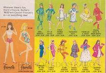 Brinquedo antigo Interior do Folheto mostrando as duas Bonecas lançadas; a Francie Loira e a Francie Morena mais 12 Conjuntos de Roupas e Acessórios Ano 1966