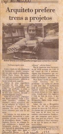 Brinquedo antigo Reportagem Folha de São Paulo Agosto de 1991