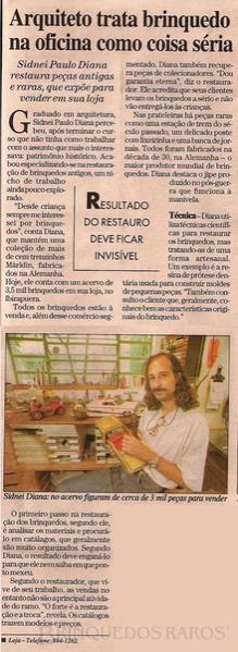 Brinquedo antigo Reportagem Caderno Seu Bairro Jardins Jornal O Estado de São Paulo Fevereiro de 2000
