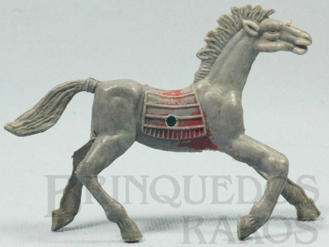 Brinquedo antigo Cavalo índio cinza com furo lateral para Carroça Distribuído pela Viocena Década de 1970