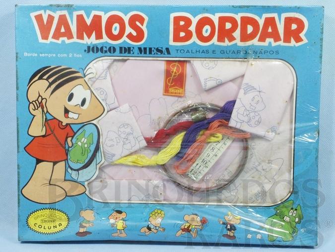 Brinquedo antigo Conjunto Vamos Bordar Jôgo de Mesa Mônica Maurício de Sousa caixa lacrada Década de 1970