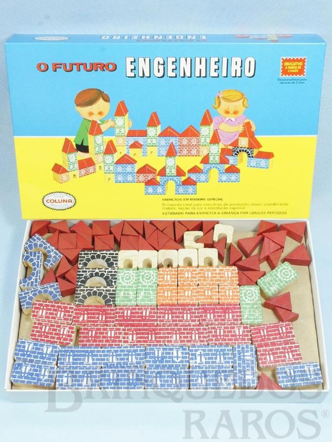 Brinquedo antigo Conjunto de Montar O Futuro Engenheiro Caixa Grande 97 peças com impressão em alto relevo Década de 1980