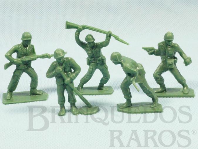 Brinquedo antigo Conjunto com 5 Soldados americanos Década de 1960