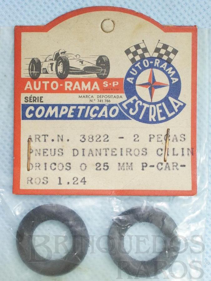 Brinquedo antigo Par de pneus dianteiros para carros 1:24 Gravado Autorama Estrela na lateral Embalagem lacrada