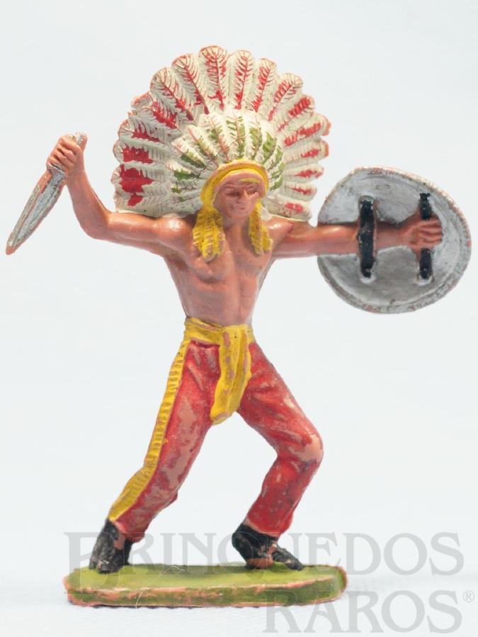 Brinquedo antigo Chefe índio de pé com faca e escudo Chefe Mão Amarela Casablanca numerado 132