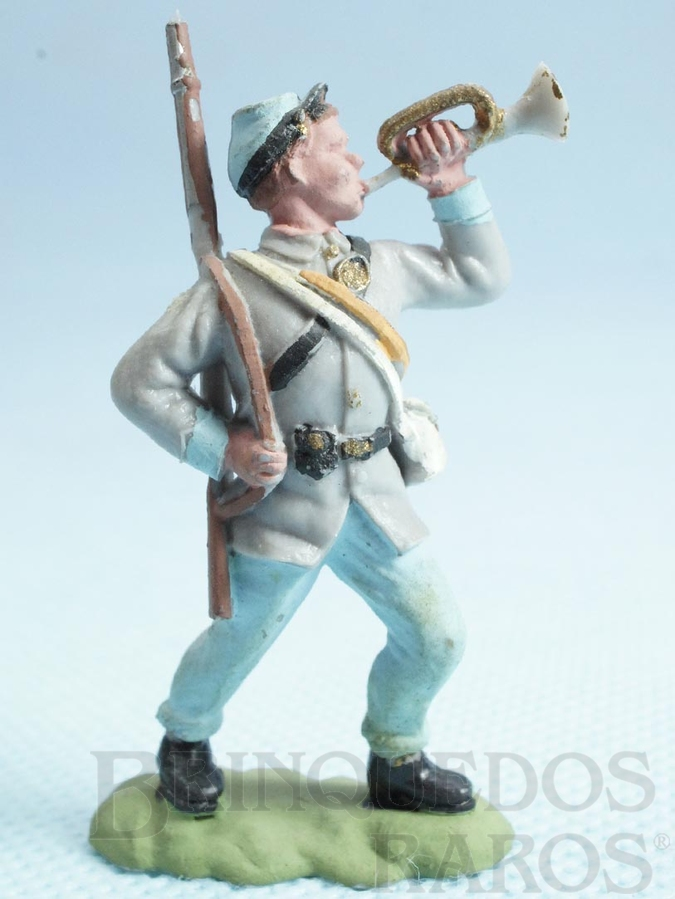 Brinquedo antigo Soldado Confederado avançando com corneta Década de 1950 Figura Matriz para Soldado Fanabri Batalha do Tuiuti