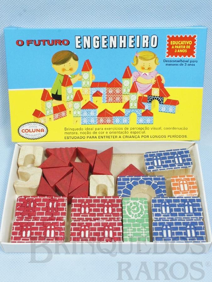 Brinquedo antigo Conjunto de Montar O Futuro Engenheiro Caixa Pequena 25 peças com impressão em alto relevo Década de 1980