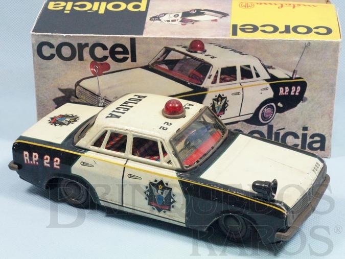 Brinquedo antigo Ford Corcel I com 22,00 cm de comprimento Versão Polícia Década de 1970
