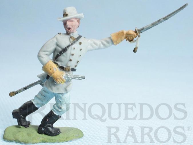 Brinquedo antigo Comandante Confederado avançando com sabre Década de 1950 Figura Matriz para Soldado Fanabri Batalha do Tuiuti