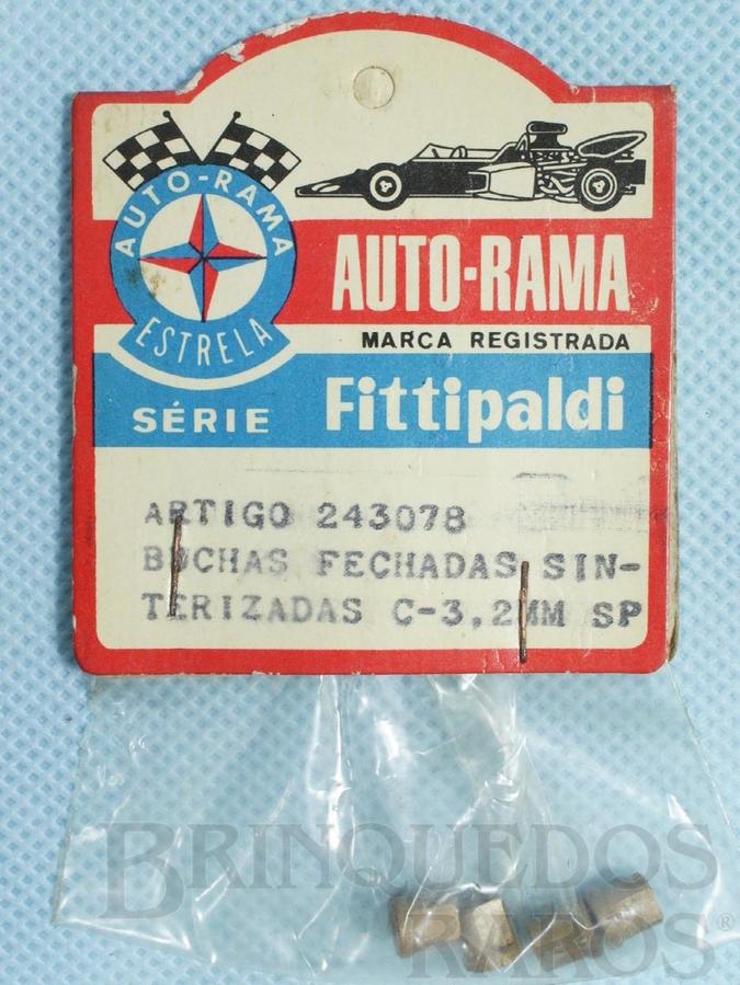Brinquedo antigo Conjunto de 4 buchas fechadas sinterizadas para Chassi Monobloco de Carros 1:32 Série Fittipaldi Embalagem lacrada Ano 1972