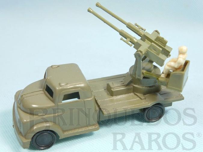 Brinquedo antigo Caminhão militar Metralhadora Anti Aérea Década de 1960