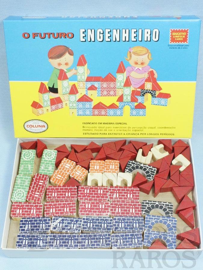 Brinquedo antigo Conjunto de Montar O Futuro Engenheiro Caixa média 78 peças com impressão em alto relevo Década de 1980
