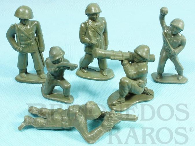 Brinquedo antigo Conjunto Completo de seis soldados 6,00 cm de altura Década de 1960