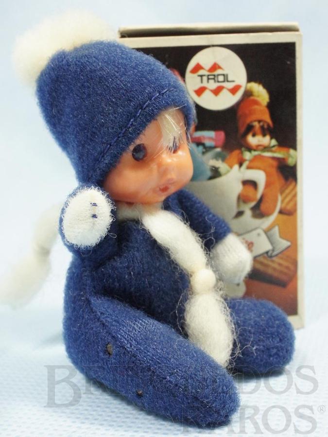 Brinquedo antigo Fofolete com olhos de plástico 6,00 Cm de altura Azul escuro Década de 1970