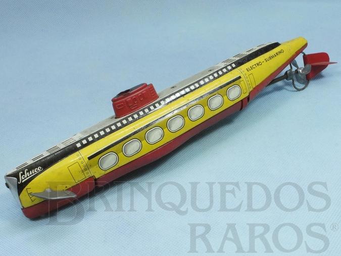 Brinquedo antigo Electro Submarino de lata e plástico com 33,00 cm de comprimento Década de 1960