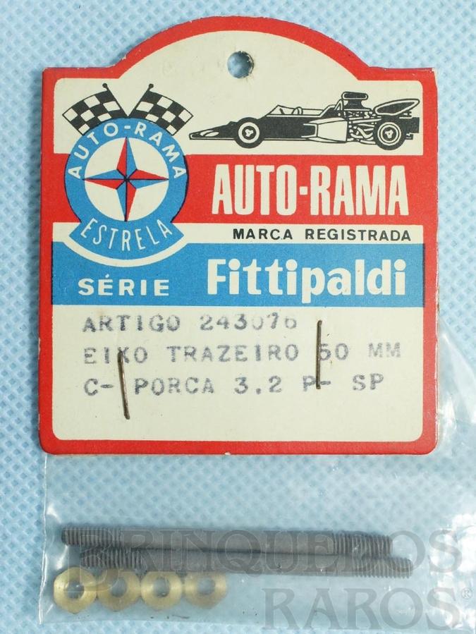Brinquedo antigo Conjunto de 2 eixos traseiros de 50,0 mm e porcas para Chassi Monobloco de Alumínio para Carros Ford GT Lola Mark III e Ford J 1:32 Série Fittipaldi Embalagem lacrada Ano 1972