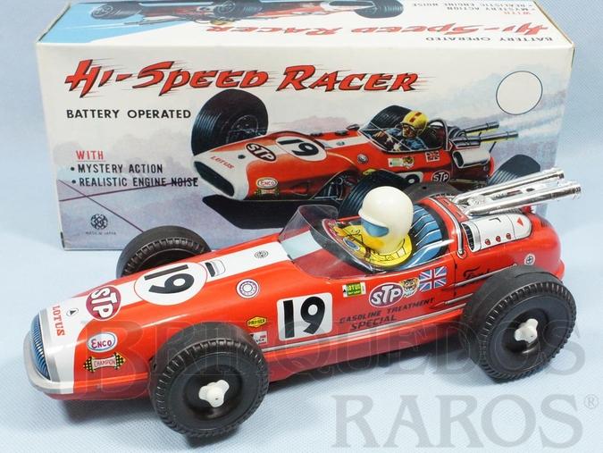 Brinquedo antigo Carro de Corrida Hi Speed Racer Lotus 38 Fórmula Indy com 30,00 cm de comprimento Sistema Bate e Volta Década de 1970