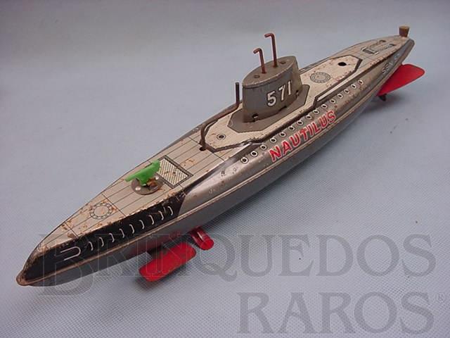 Brinquedo antigo Submarino Nautilus com 35,00 cm de comprimento Década de 1970