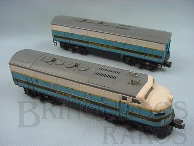 Brinquedo antigo Locomotiva 2368 Diesel F3 AB Baltimore and Ohio Ano 1956 a 1957