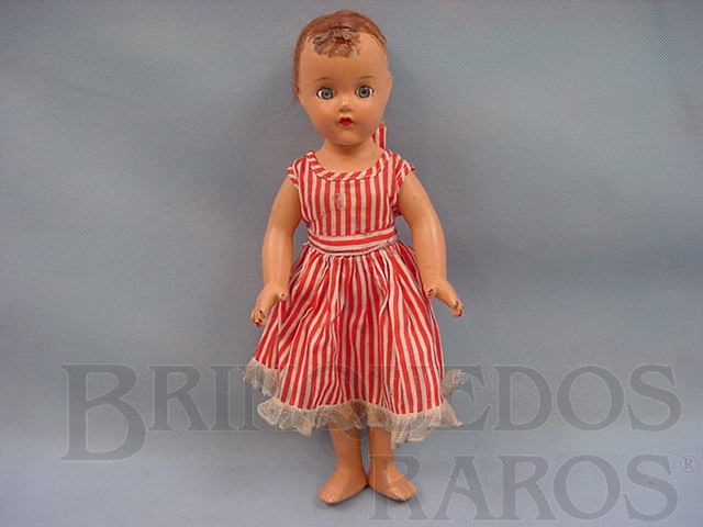 Brinquedo antigo Boneca de Massa com 35 cm de altura vestido original Década de 1940