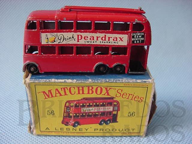 Brinquedo antigo London Trolley Bus black plastic Regular Wheels
