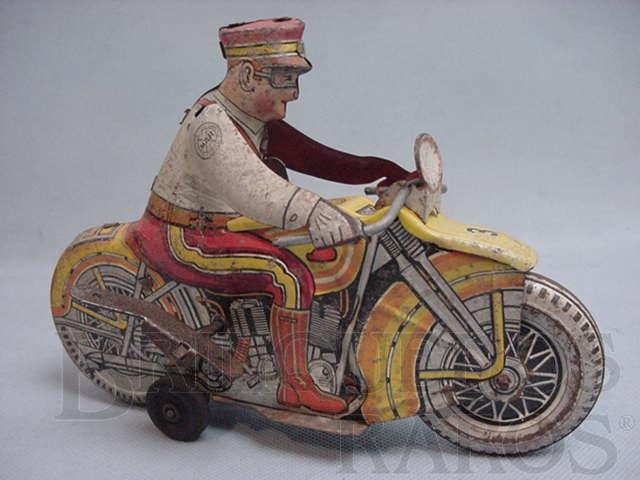 Brinquedo antigo Motocicleta da Policia Rodoviária com sirene. Década de 1930