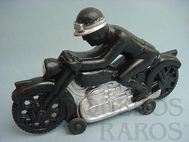 Brinquedo antigo Motocicleta preta com motociclista 25,00 cm de comprimento Década de 1970