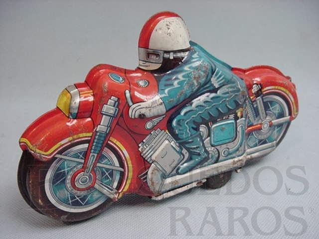 Brinquedo antigo Motocicleta vermelha com motociclista azul com 25 cm de comprimento. Década de 1970