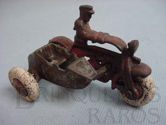 Brinquedo antigo Motocicleta com Side Car com 8,00 cm de comprimento Década de 1920