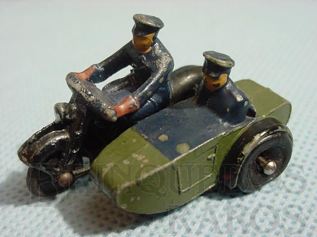 Brinquedo antigo Police motorcycle patrol with side car com 5,00 cm de comprimento Ano 1949