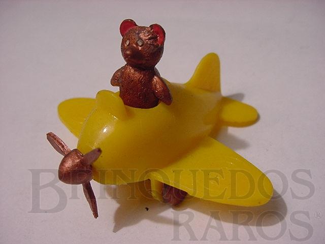 Brinquedo antigo Avião com Urso 6,00 cm de comprimento Década de 1950