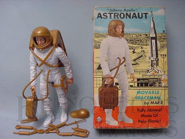 Brinquedo antigo Astronauta Johnny Apollo com 18 cm de altura Ano 1969 comemorativo da viagem à Lua