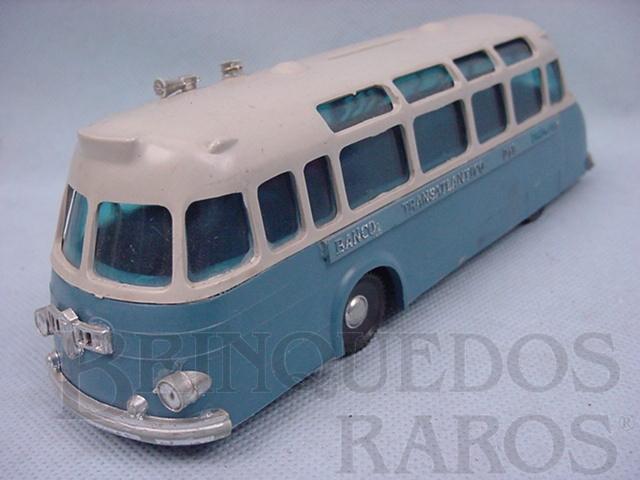 Brinquedo antigo Onibus azul e cinza com 20,00 cm de comprimento Década de 1960
