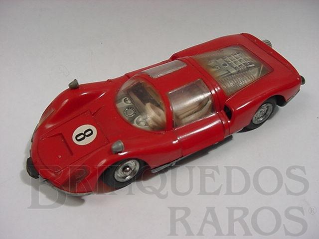 Brinquedo antigo Porsche Carrera vermelho Micro Racer Década de 1970