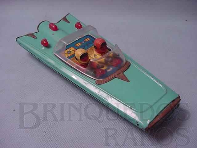 Brinquedo antigo Carro a jato azul com dois pilotos