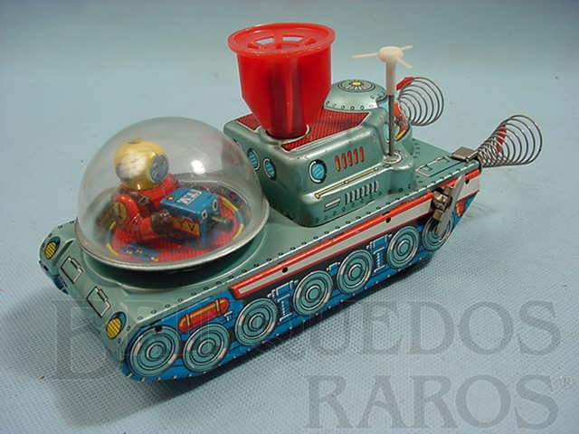Brinquedo antigo Nave tanque espacial com TV e Satélite 20,00 cm de comprimento Década de 1960