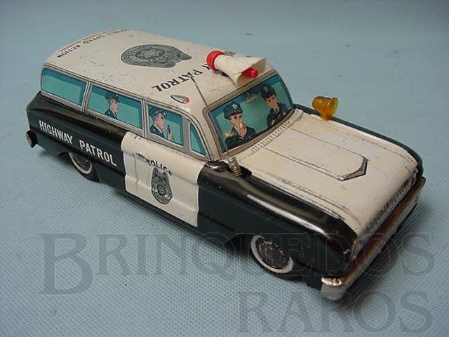Brinquedo antigo Perua Highway Patrol Motor com duas velocidades Década de 1960