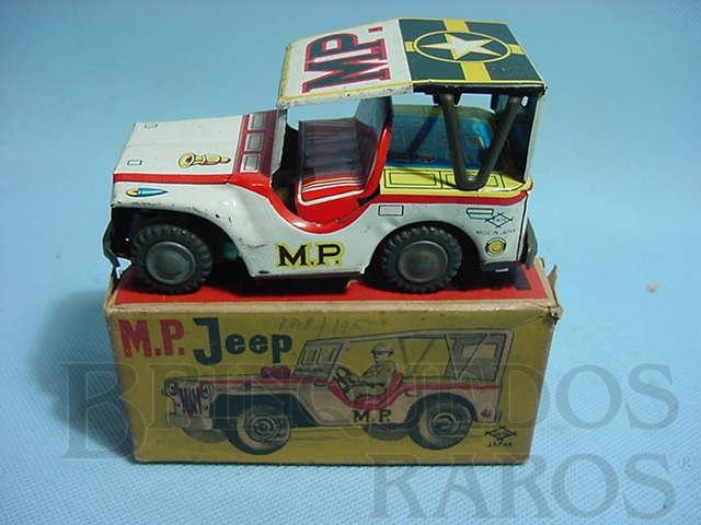 Brinquedo antigo Jeep Willys Military Police com 12,00 cm de comprimento Década de 1960