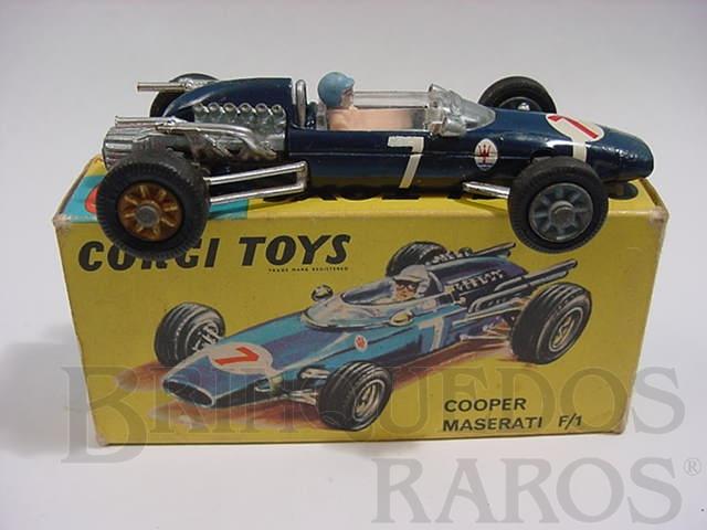 Brinquedo antigo Cooper Maserati Fórmula 1 azul metálico